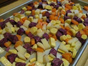 Parsnips, carrots, a purple sweet potato and Yukon potato