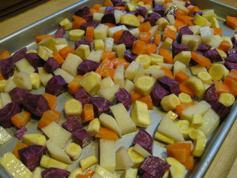 Parsnips, carrots, a purple sweet potato and Yukon potato