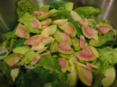 Colorful watermelon radishes enliven this salad