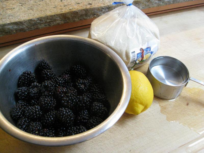 Simple ingredients: blackberries, lemon juice, sugar and water