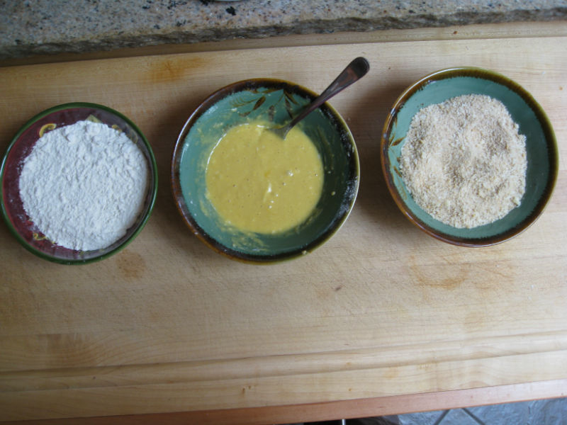 Flour; egg and mustard with a little flour; breadcrumbs and cheese