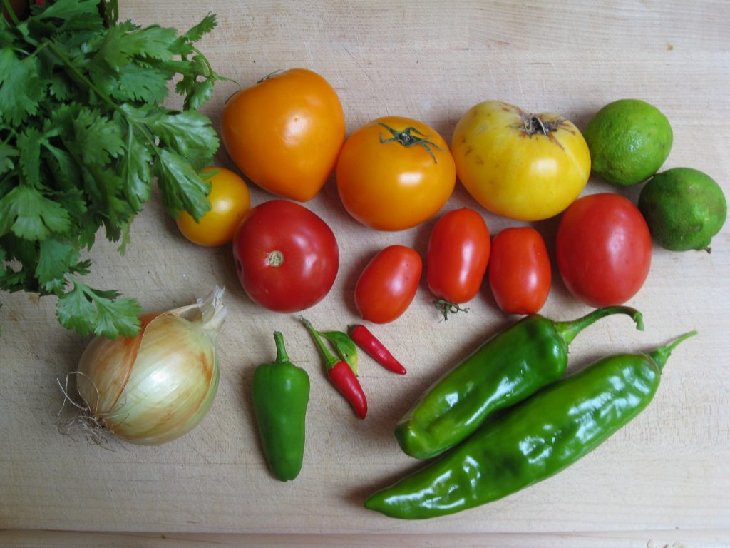 Tomatoes, peppers, onion and cilantro are simple ingredients to this simple salsa