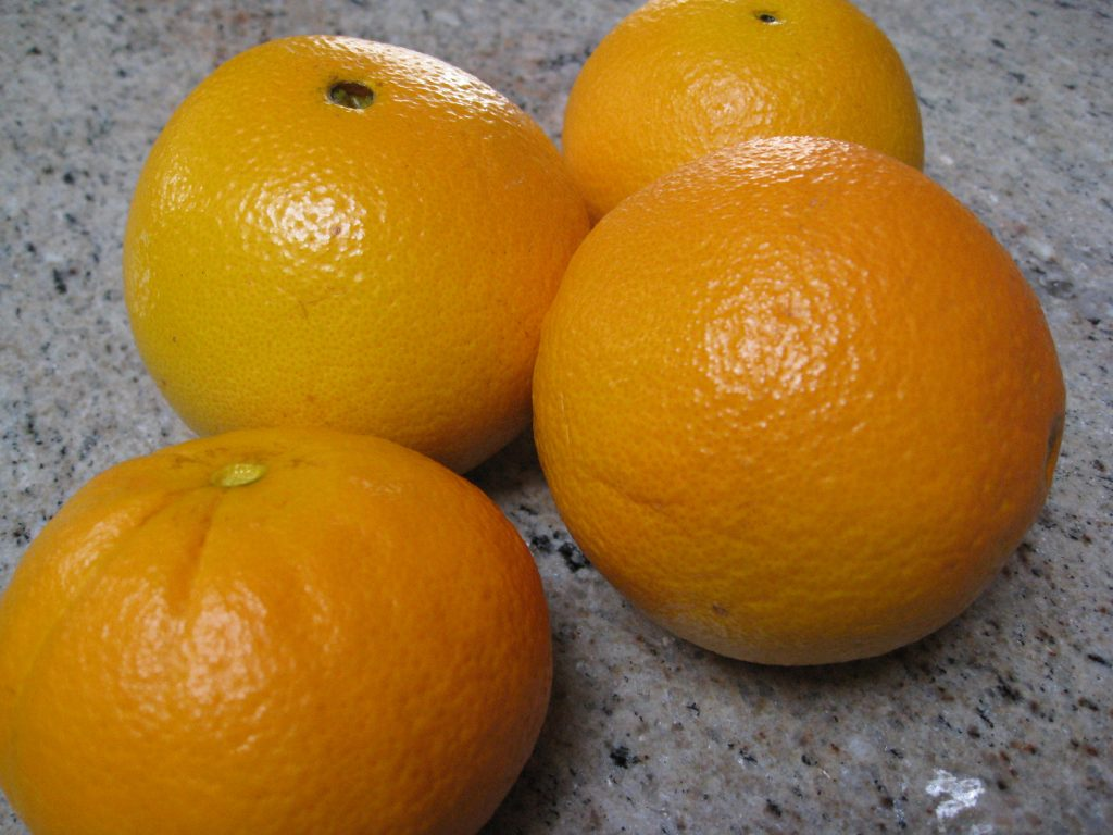 Fresh oranges from our tree