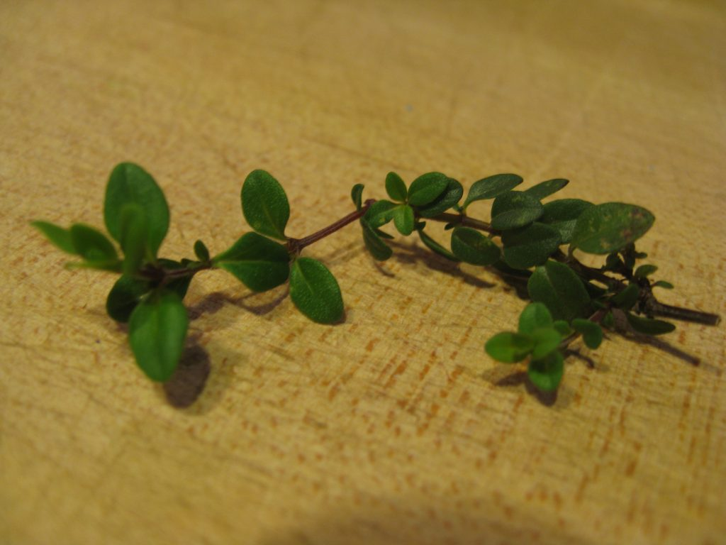 Thyme, garlic and a bay leaf make a short list of ingredients.