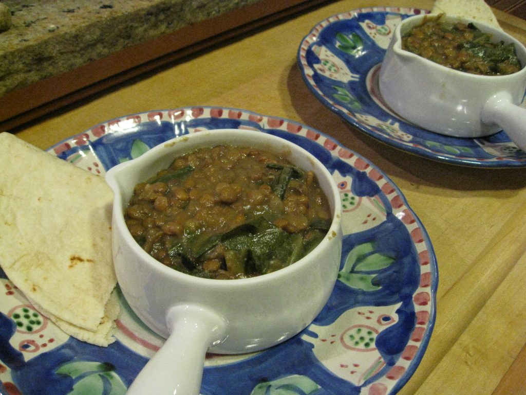 Hearty lentil soup with collard greens