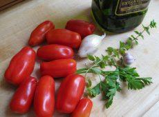 San Marzano tomatoes, fresh parsley, fresh oregano, and homegrown garlic and onions.