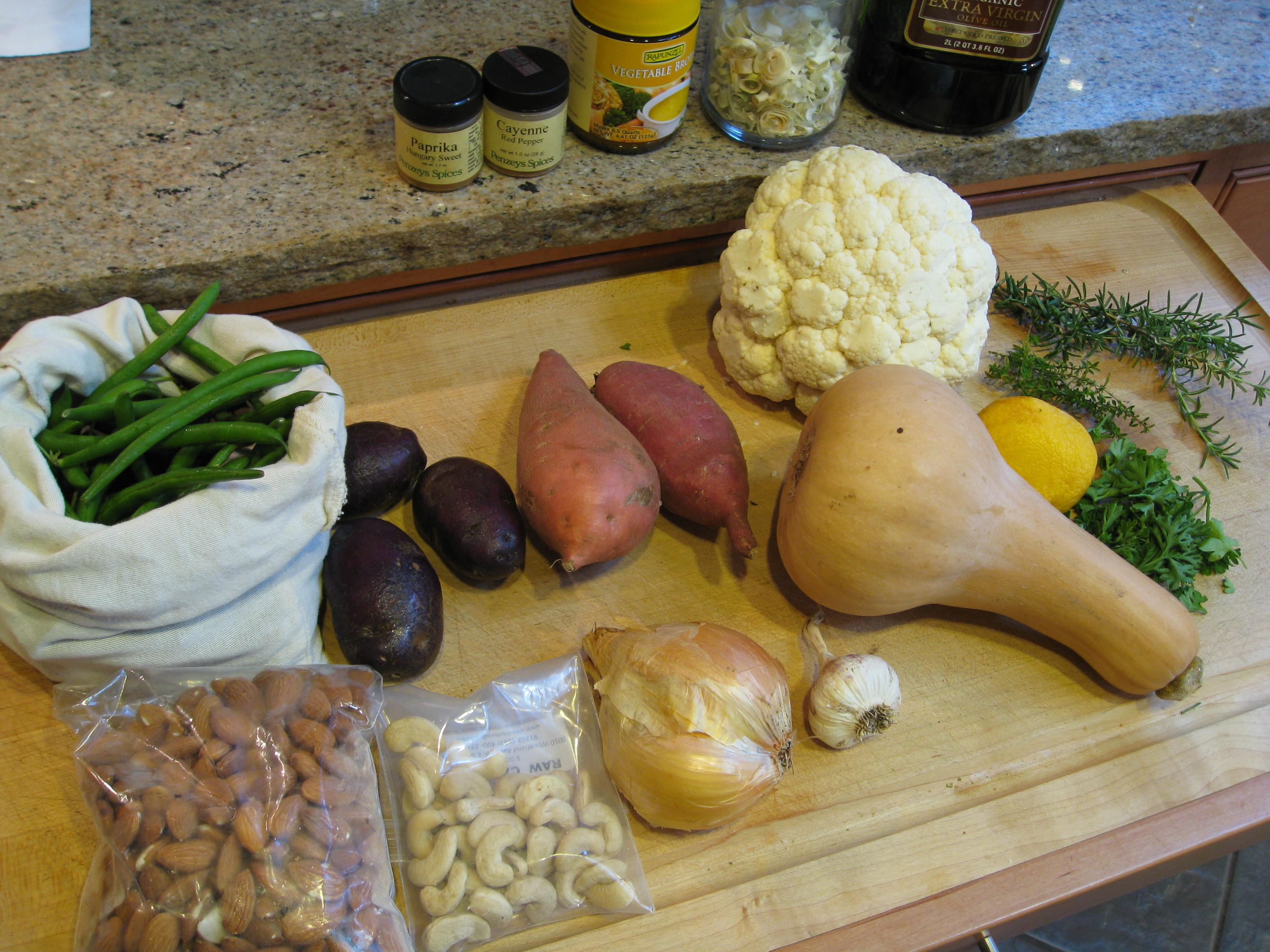 Veggie bake ingredients