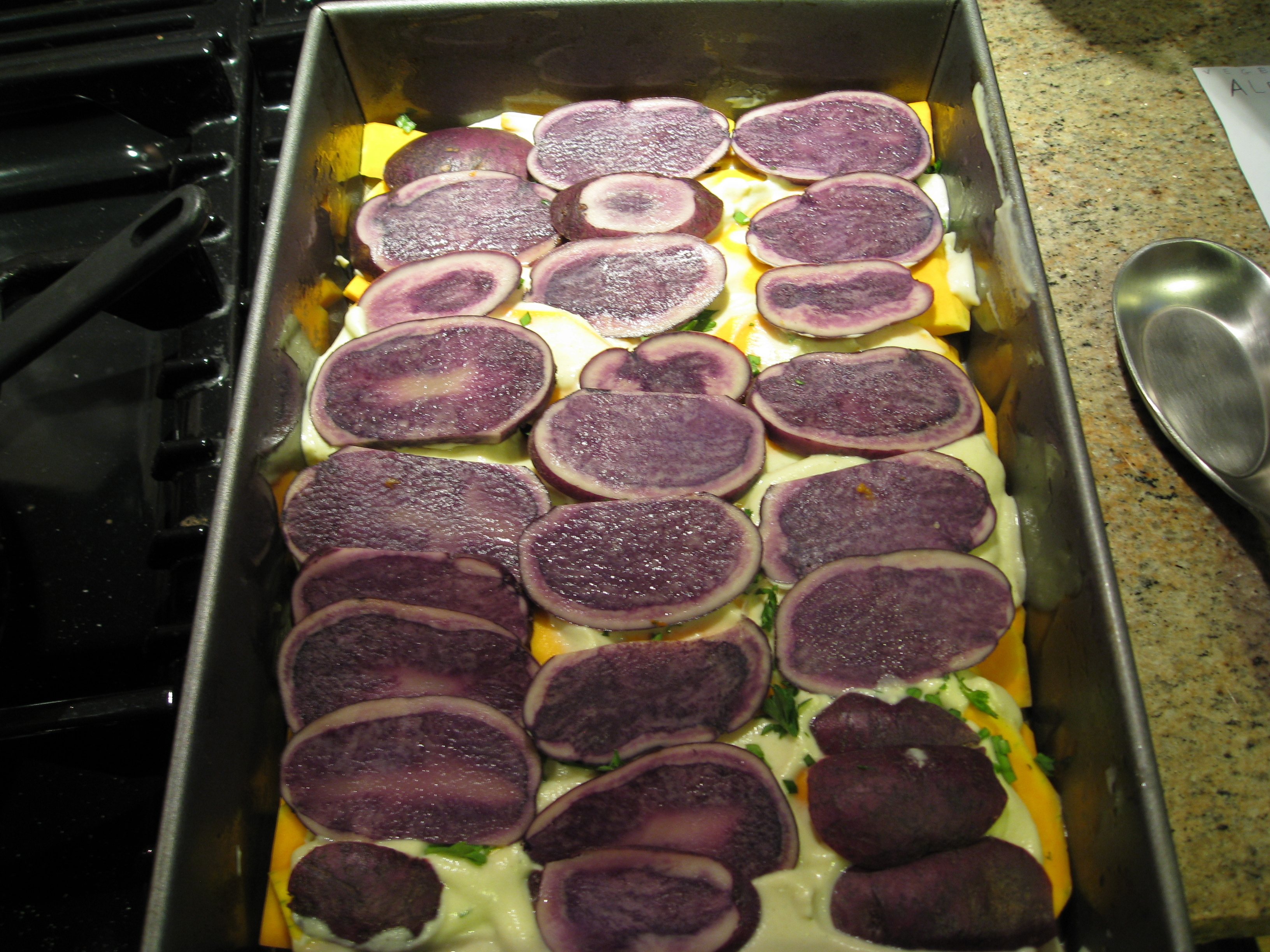 We used purple potatoes for our veggie bake.