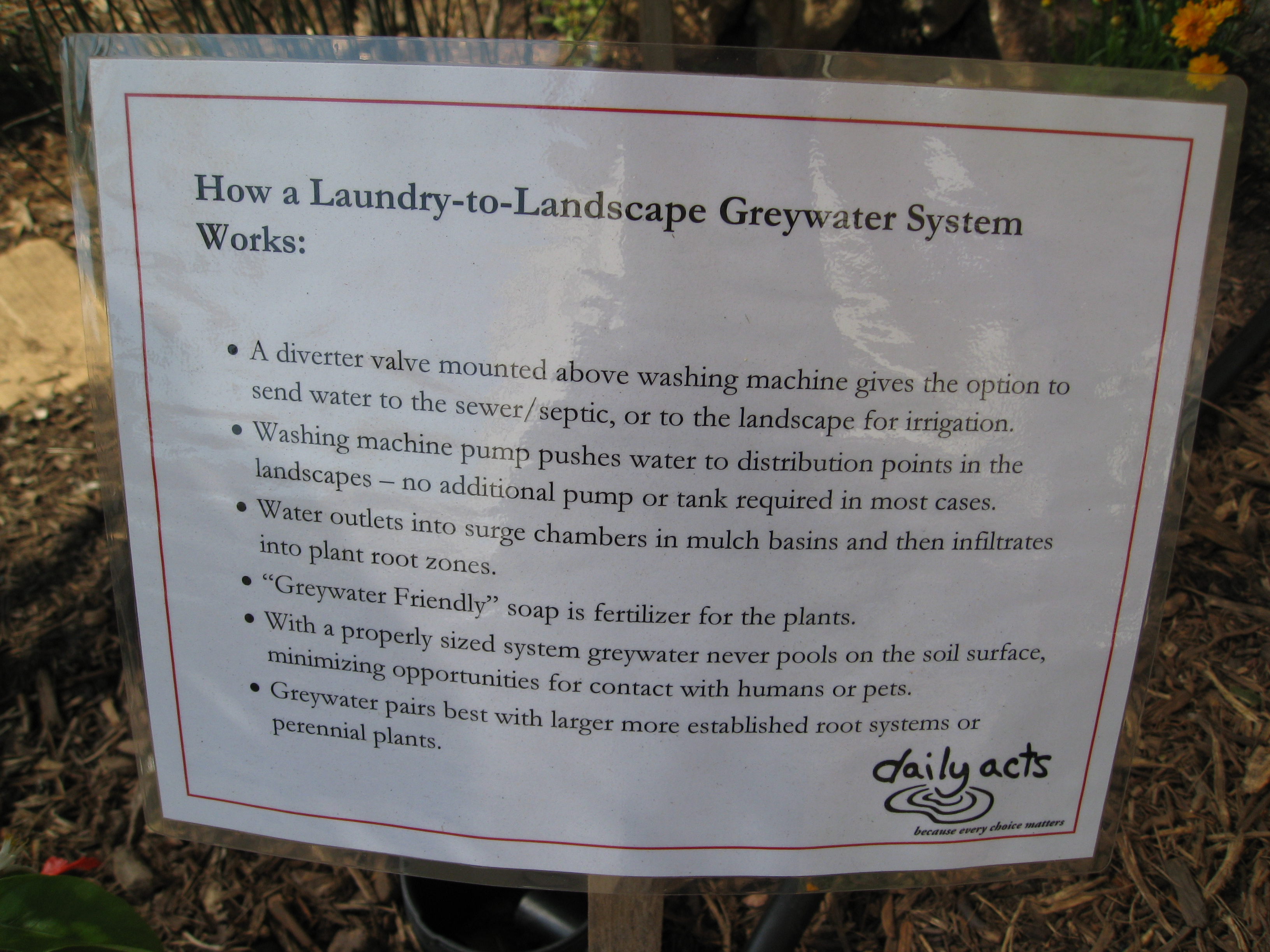 Helpful hints on gray water systems