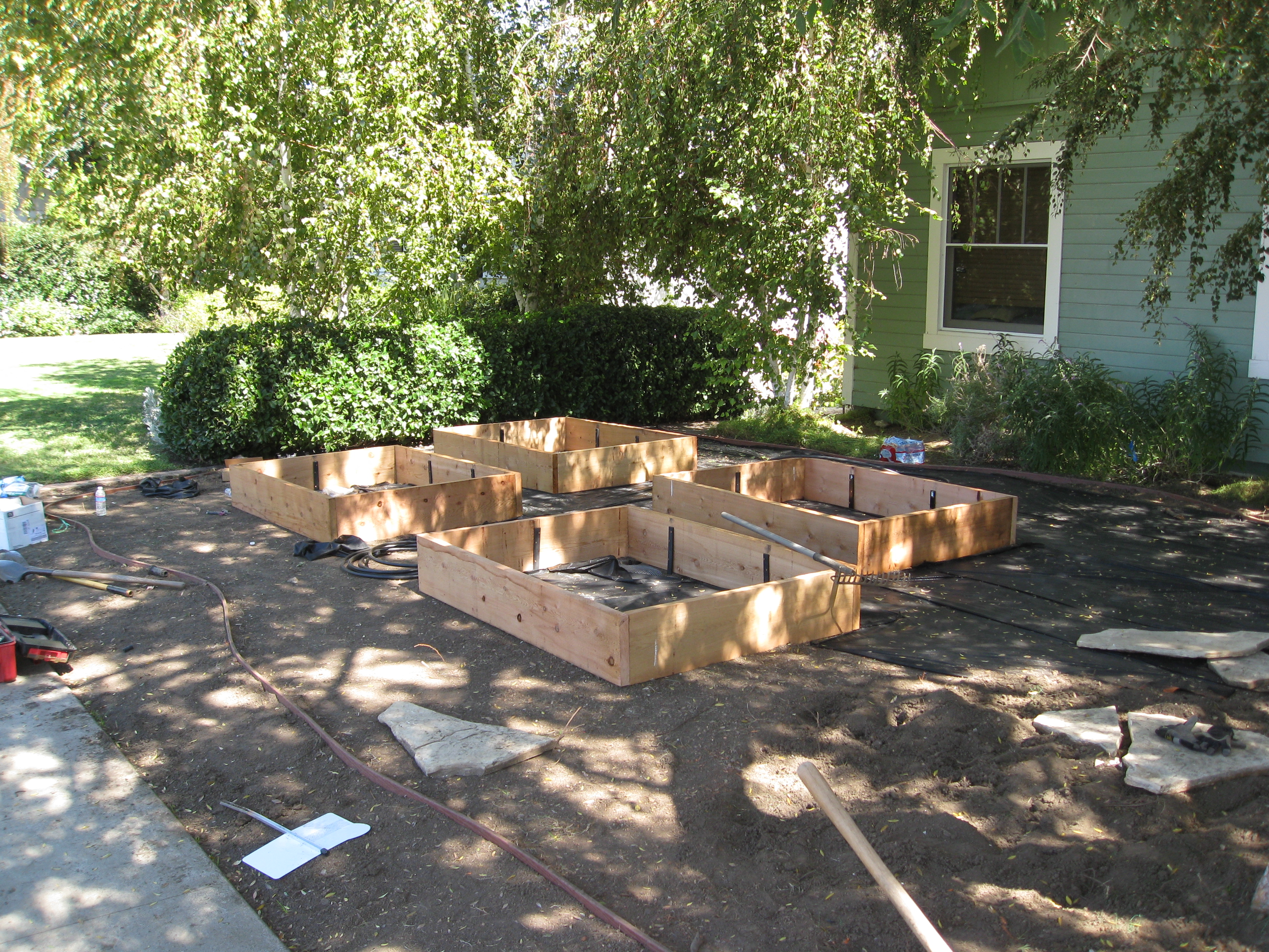 New raised beds will offer productive food gardening for the family.