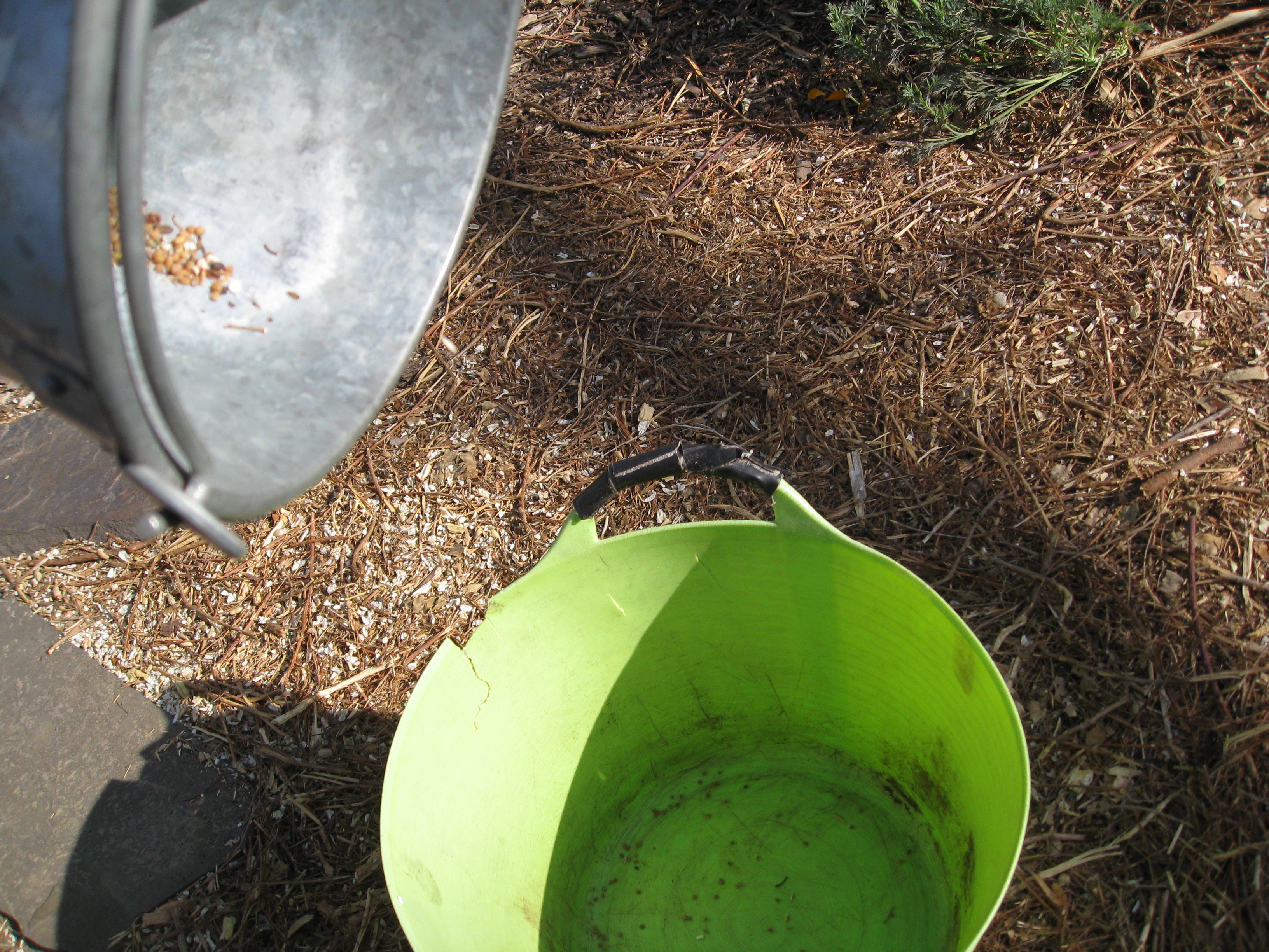Pour from a small bucket to a larger bucket in the breeze.