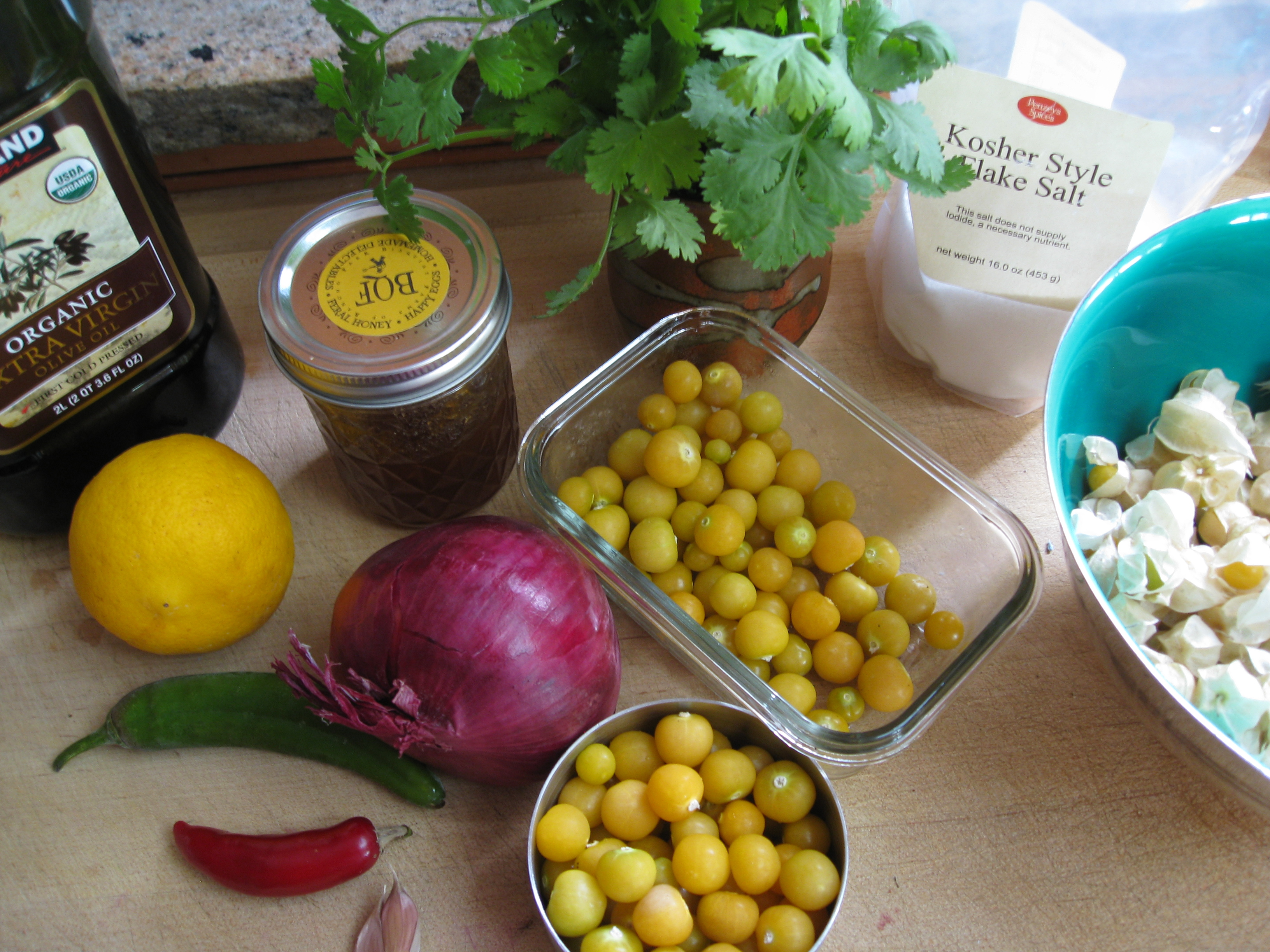 Ingredients for ground cherry salsa.