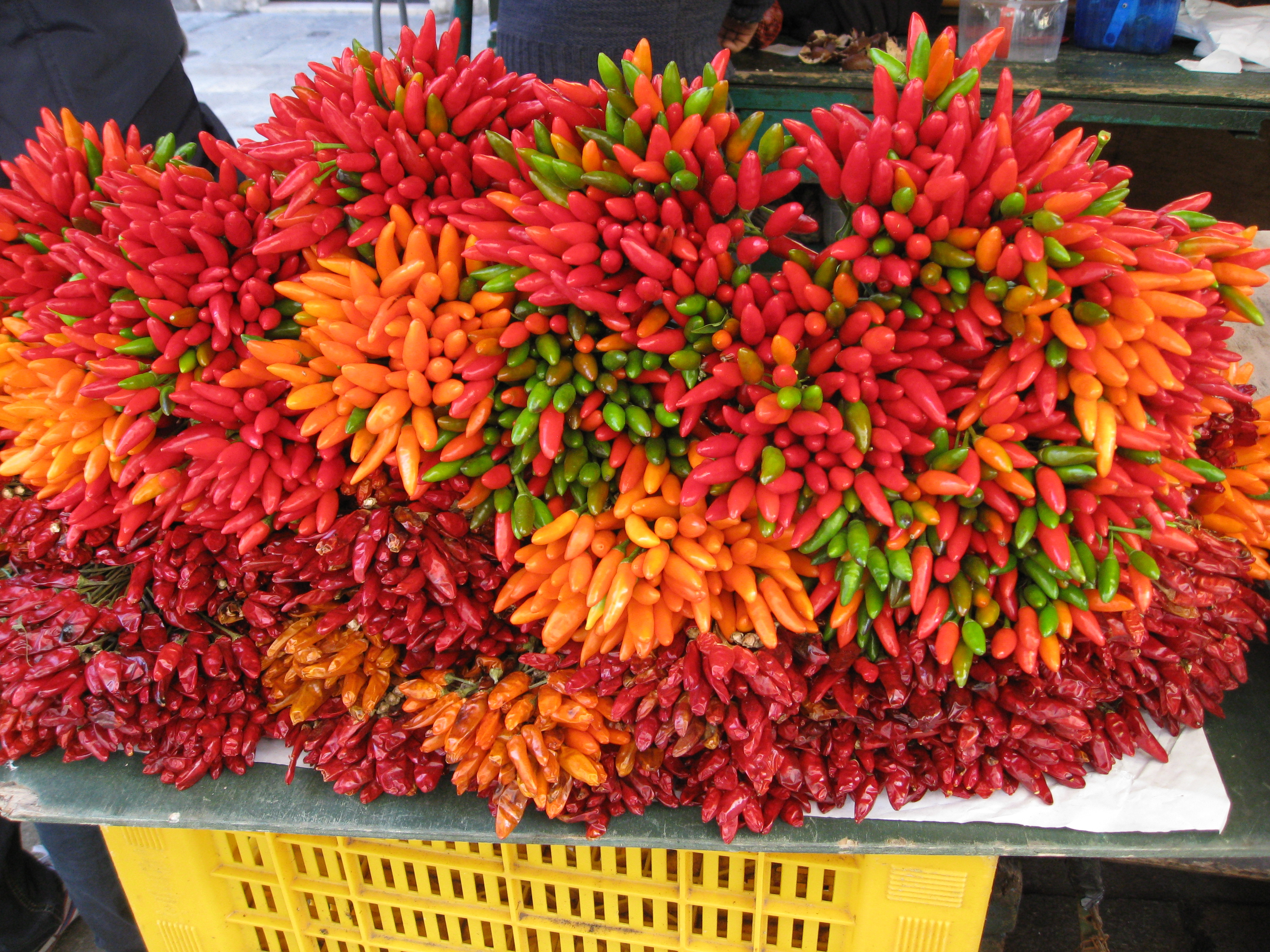 Colorful peppers sold by the bunch