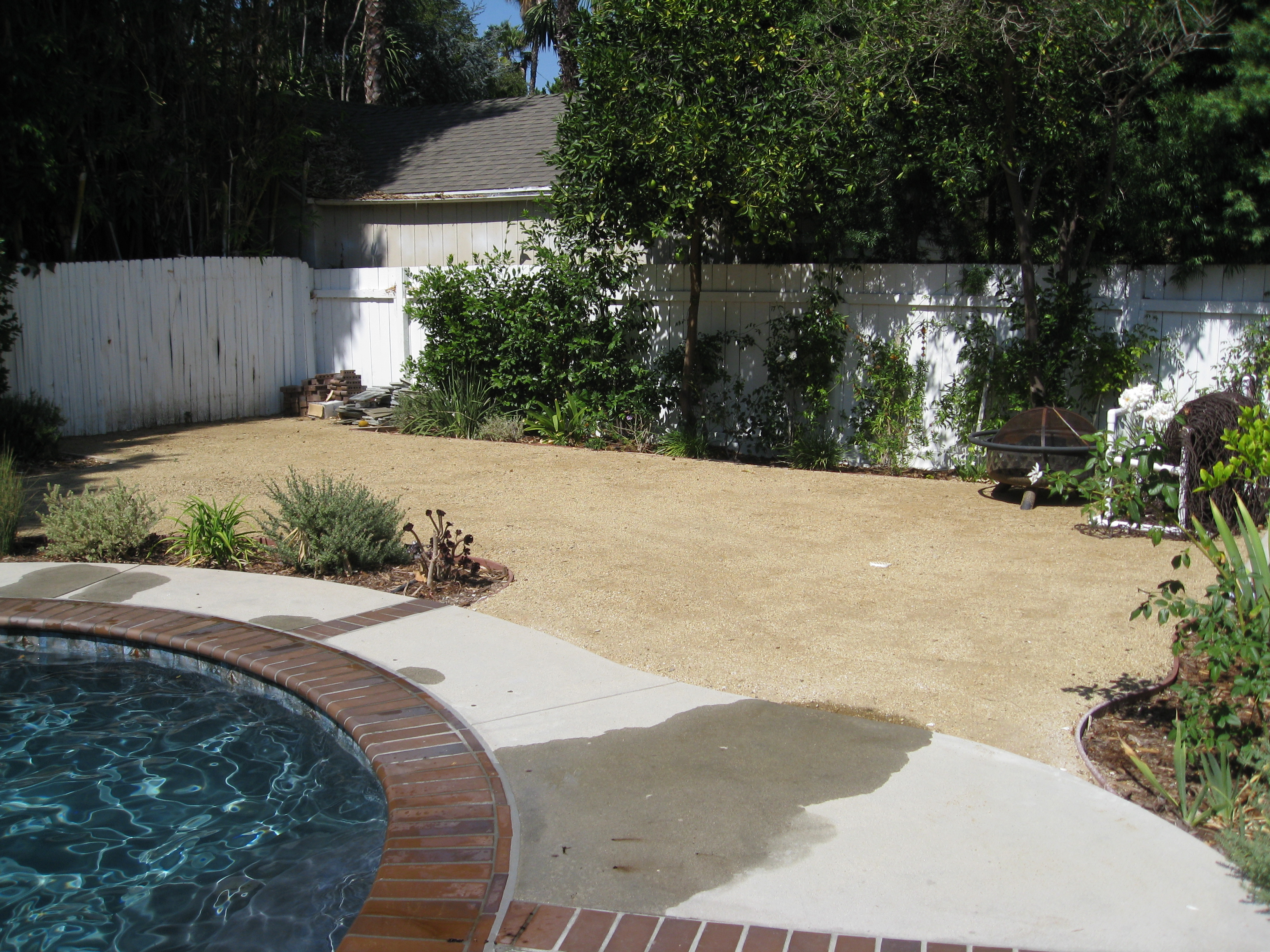The homeowner recently remodeled the property and left a blank canvas for a new vegetable garden.
