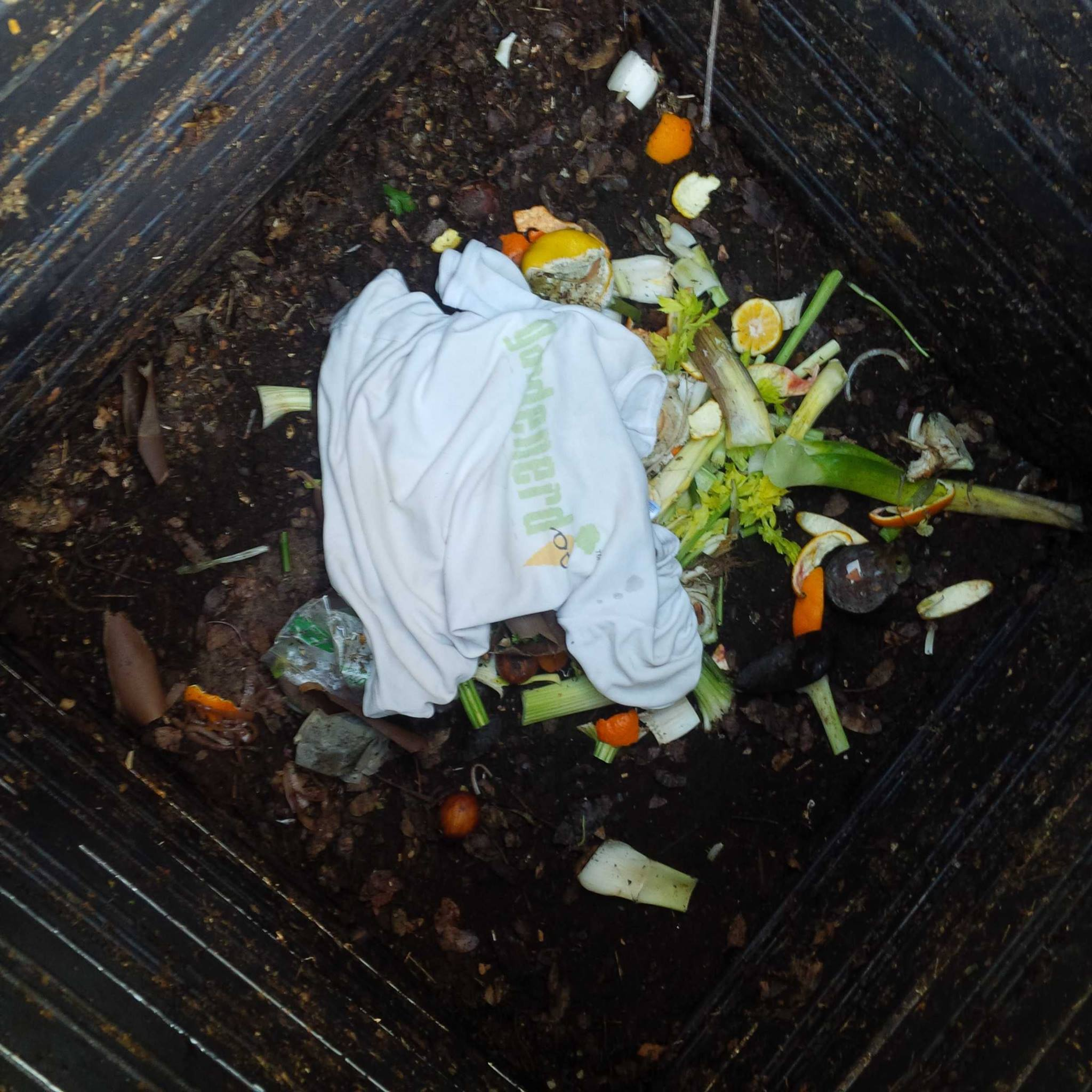 Gardenerds compost a T-shirts once it falls apart. Tear it up in strips first.