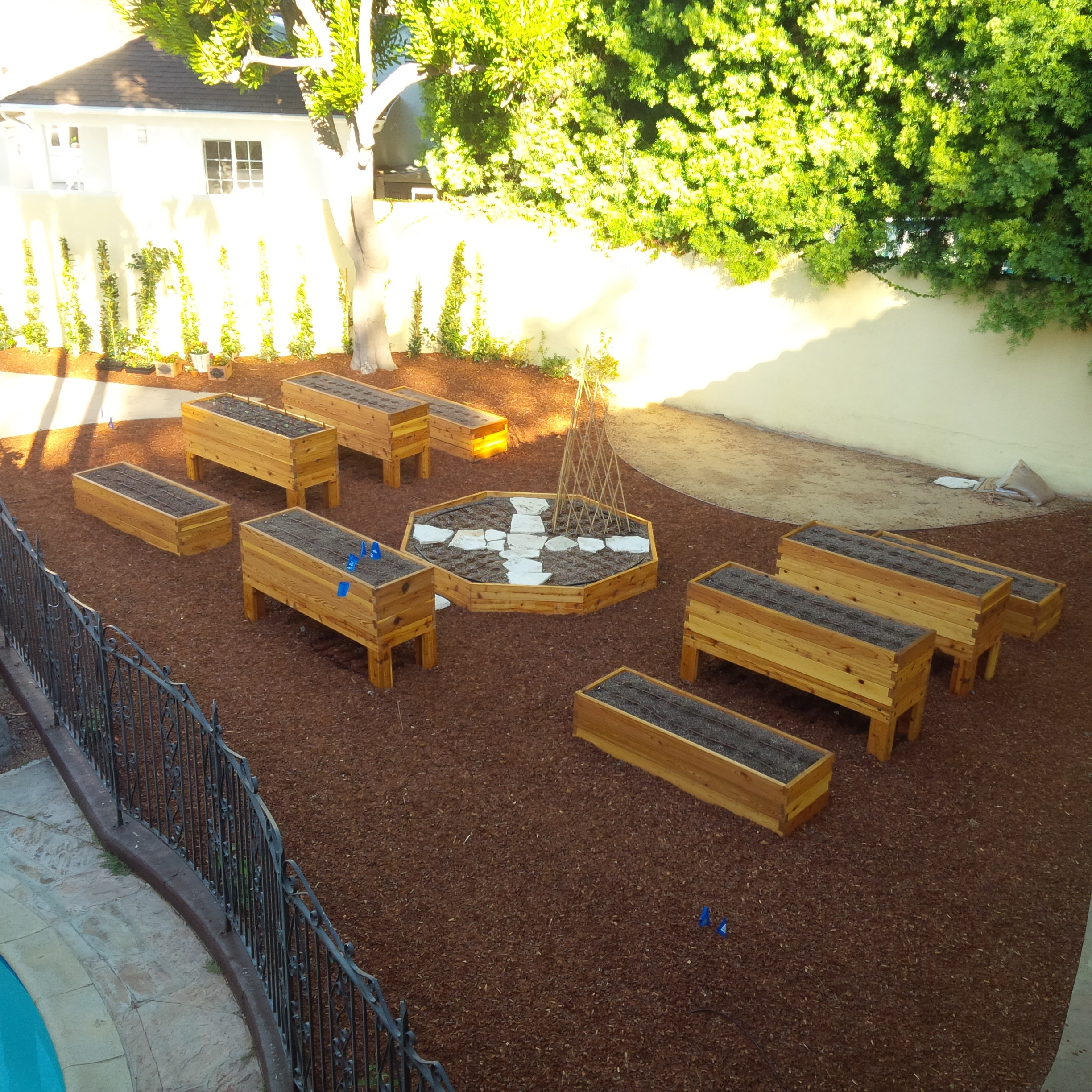 The garden after installation, before seating arrived.