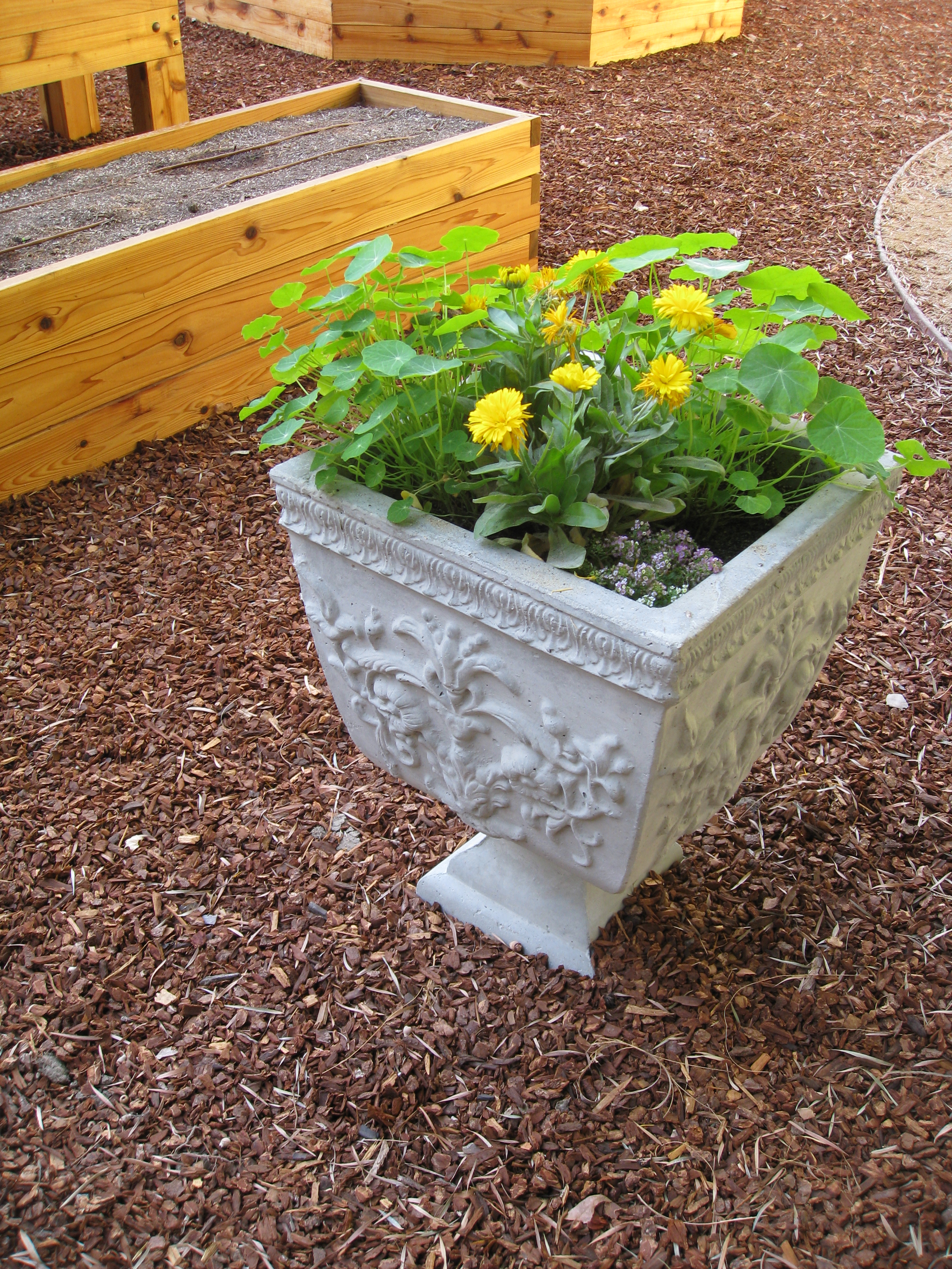 Three urns with beneficial insectaries polish the garden design.