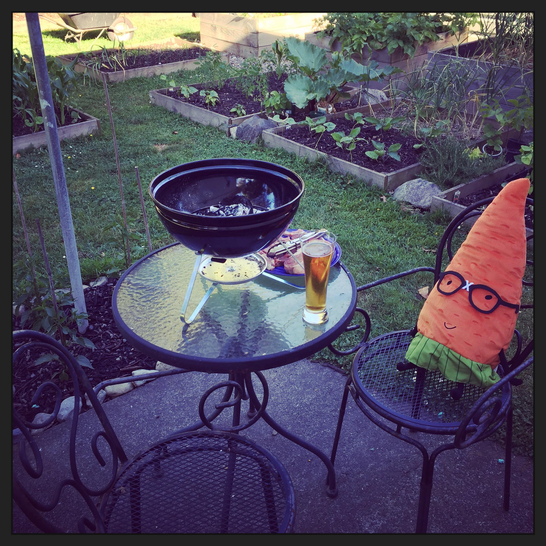 Gardenerd enjoying a bbq on a hot summer's eve in the back garden.