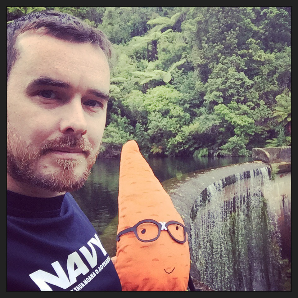 """""""Out for a run with my visitor - stopping for a selfie at Birchville Dam"""""""