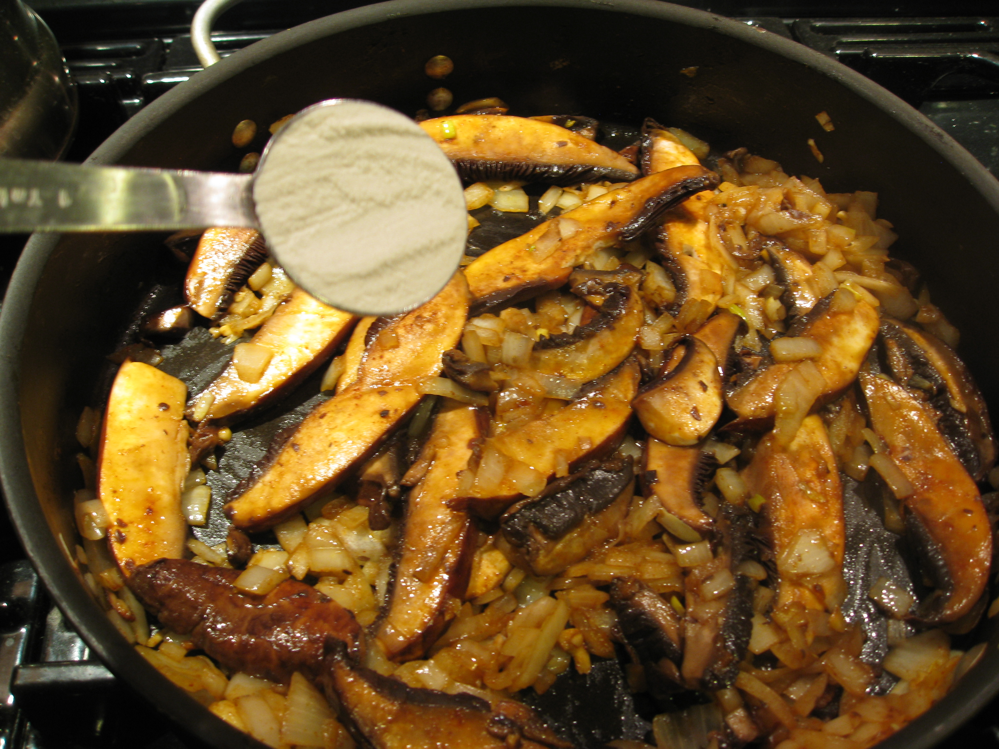 Saute mushrooms and onions, add smoked paprika and then toss with a little flour to thicken.