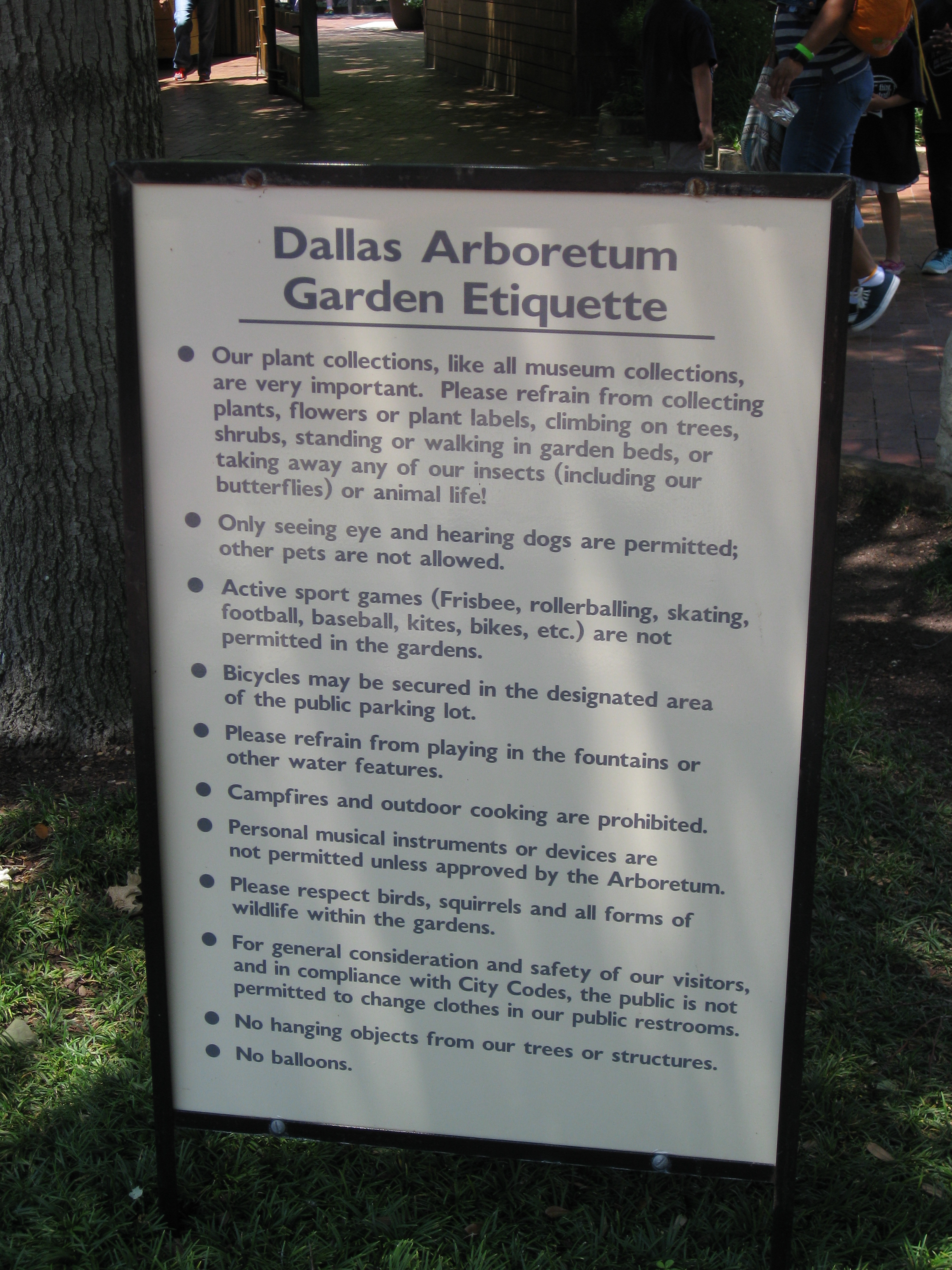 """Ground rules include """"no campfires"""" at the Arboretum."""