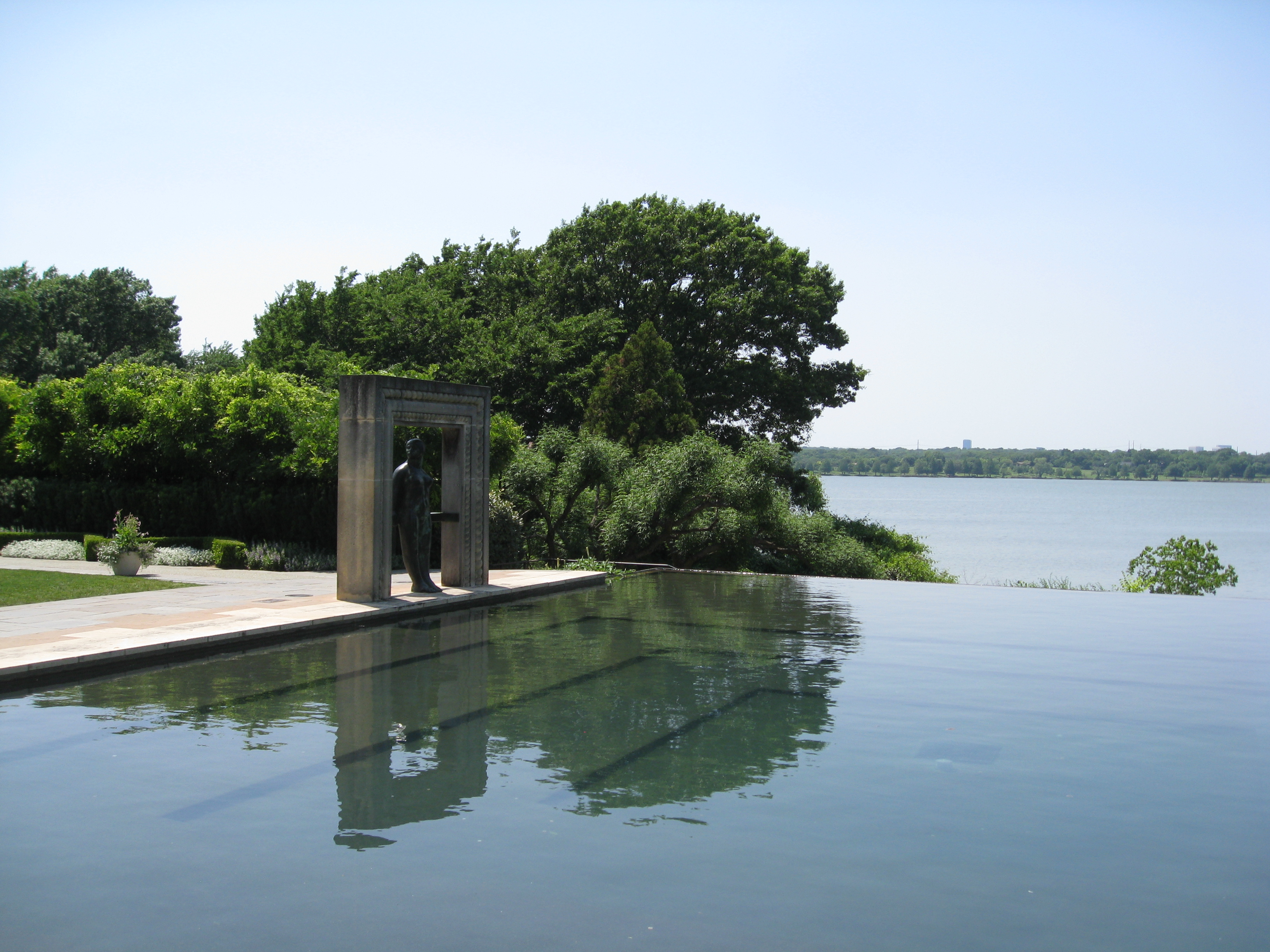 Infinity pool and sculpture garden make the Woman's Garden a peaceful place.