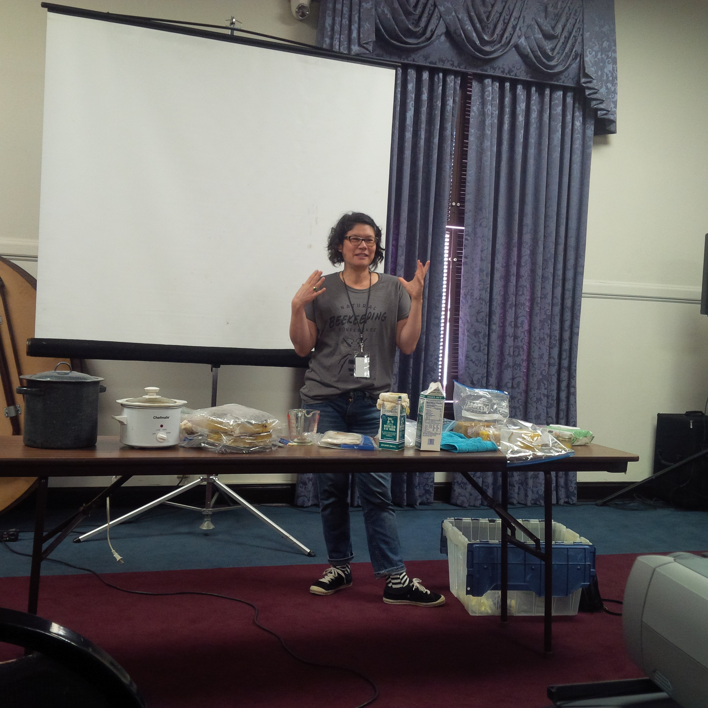 Max Wong shares how she renders wax after honey harvest.