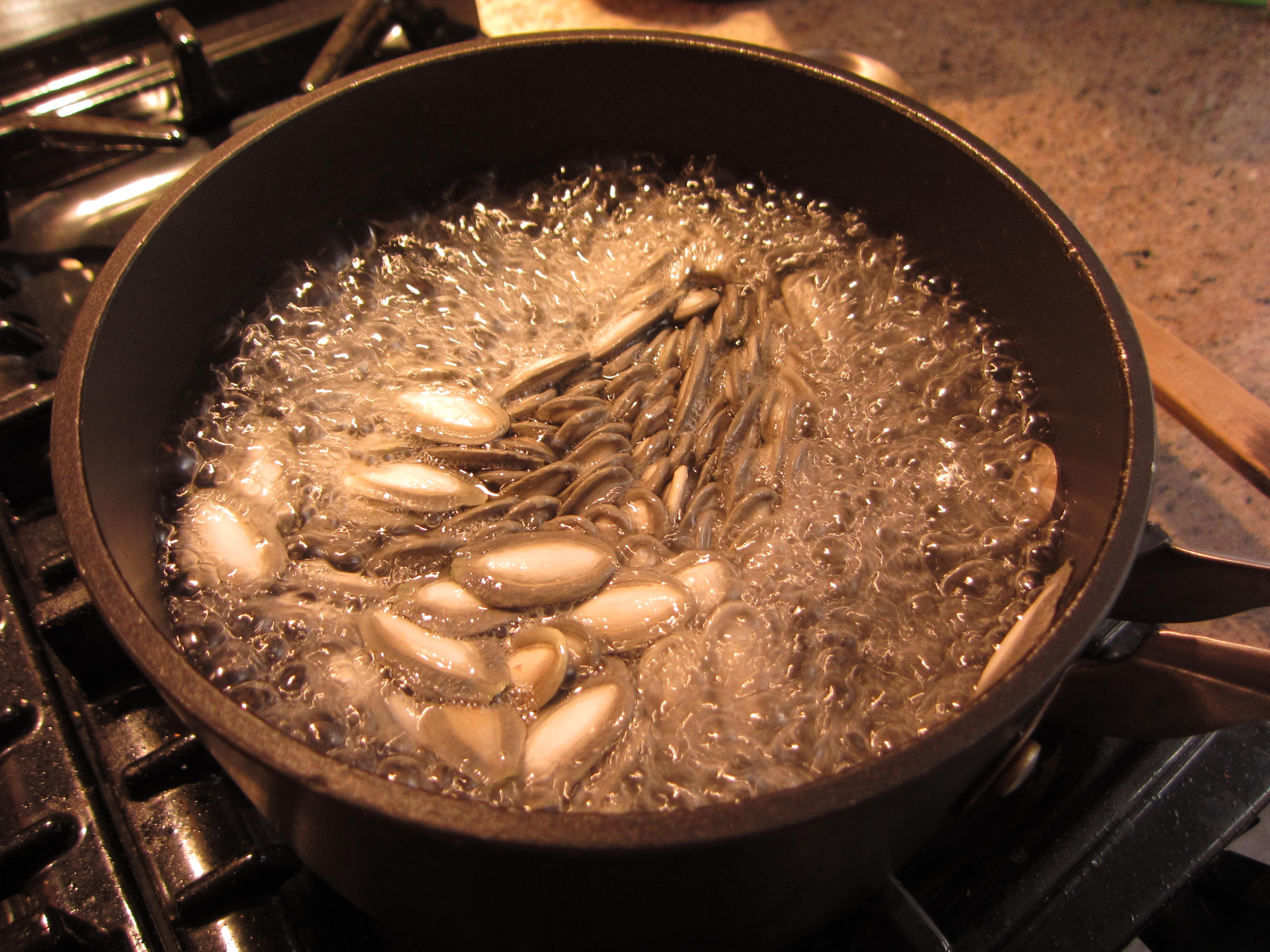 Next, bring them to a boil in salted water (1 tsp) and simmer for 10 minutes.