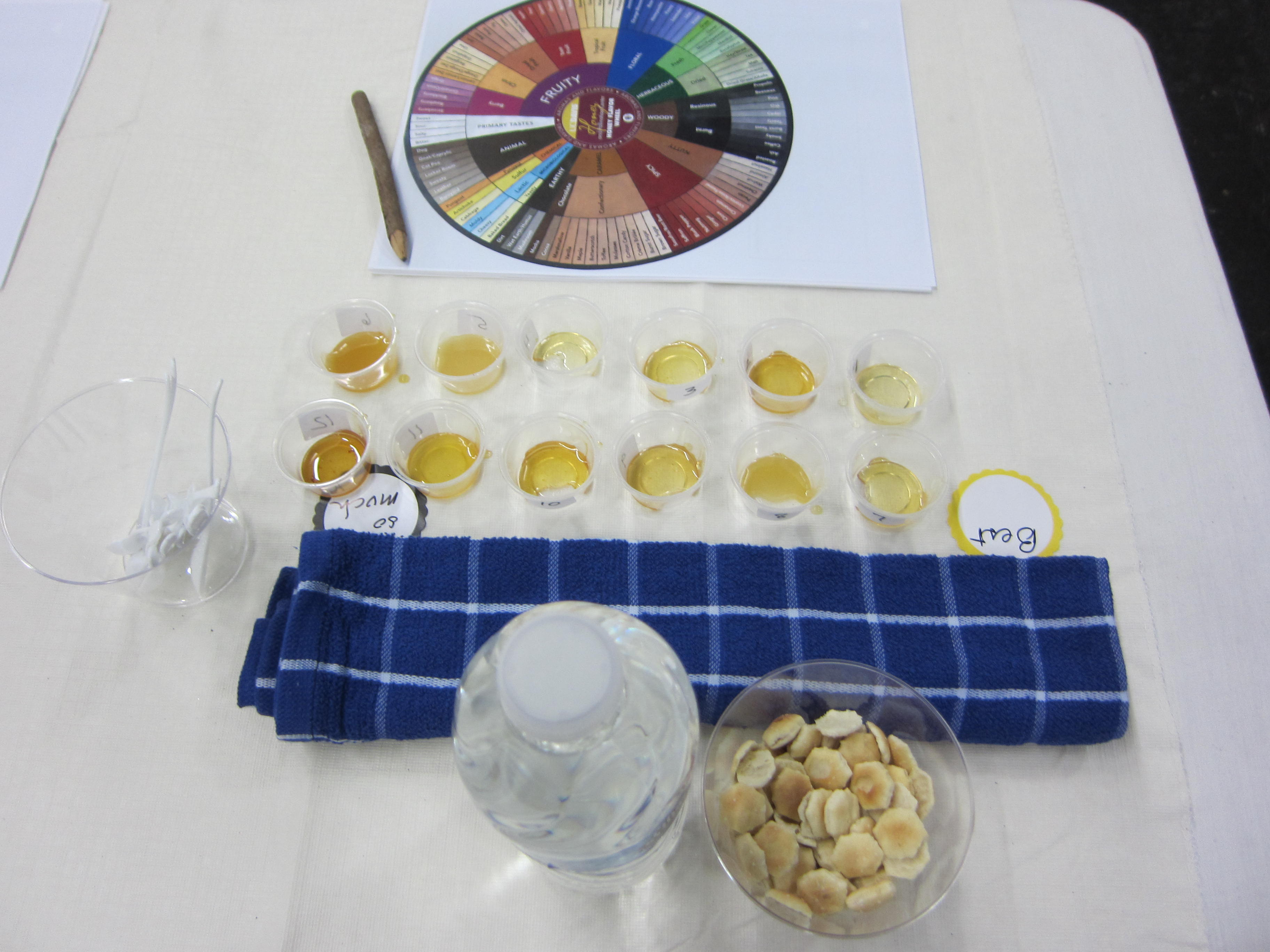 Water and crackers for palate cleansers, along with a honey tasting wheel to distinguish flavors.