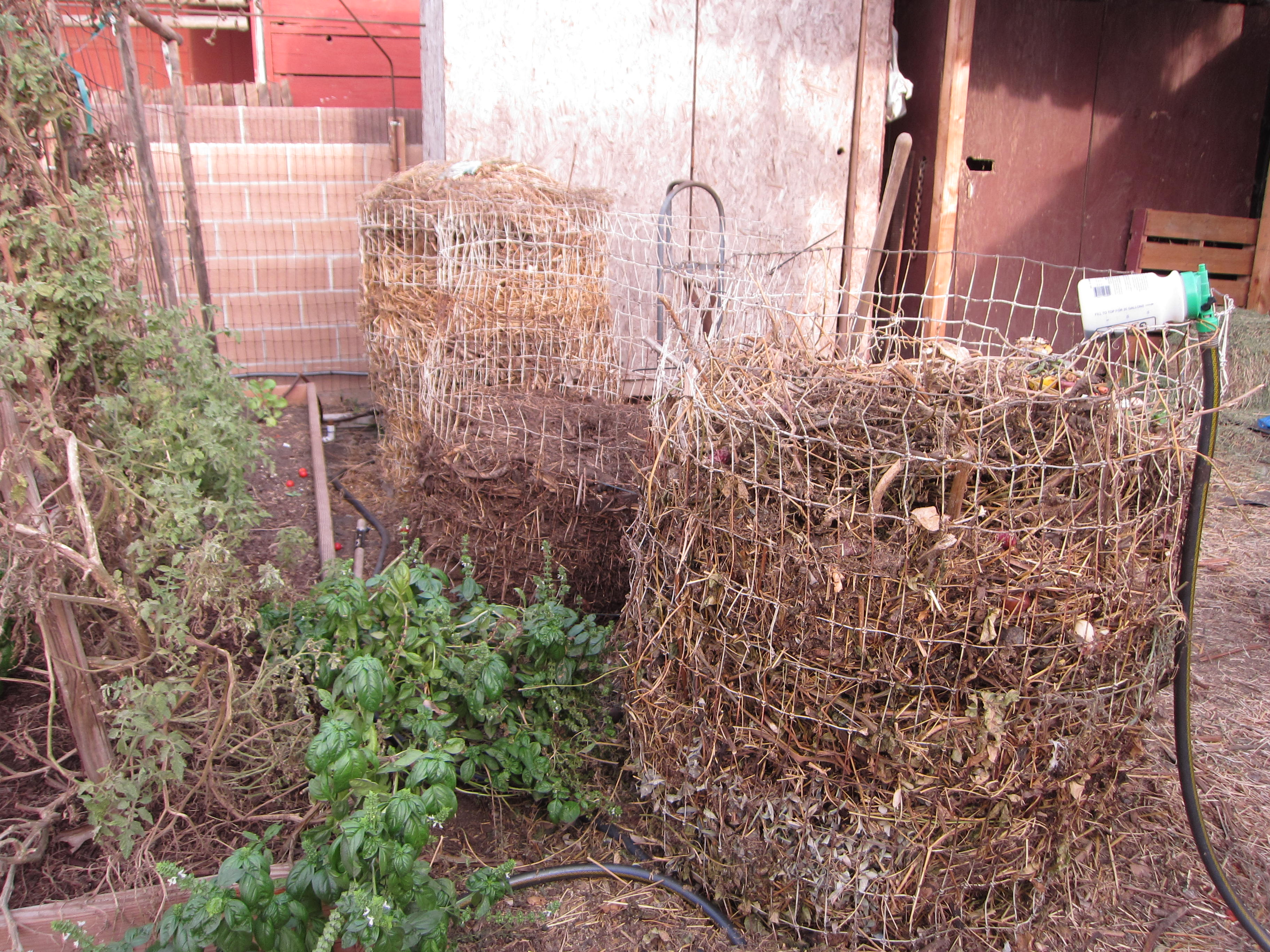 Compost is an important part of any homestead farm. They compost garden waste and manure from the horses and goats.