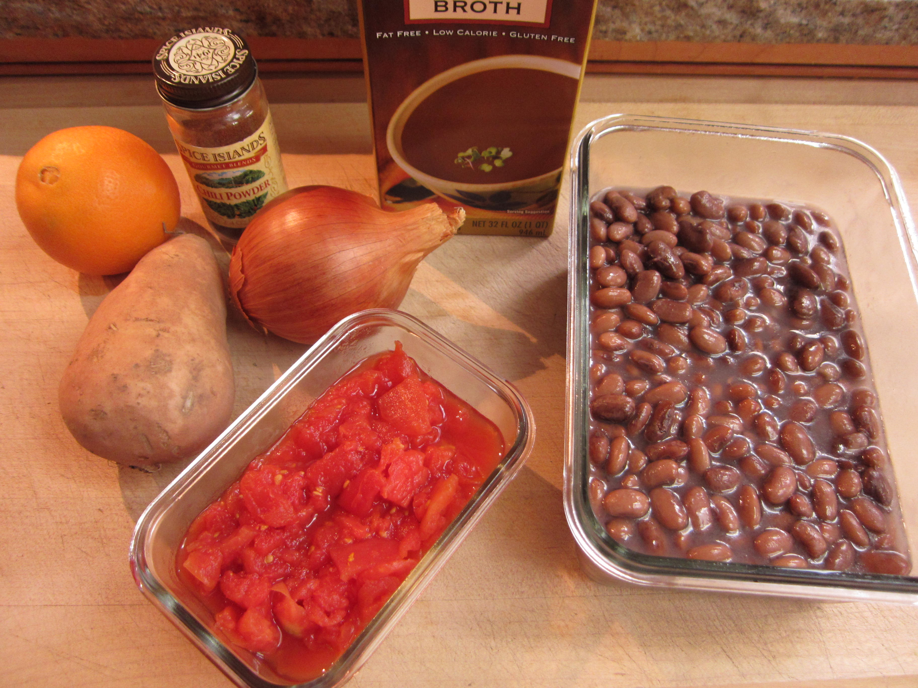 Ingredients for Pinto Bean Sweet Potato Chili are easy to come by.