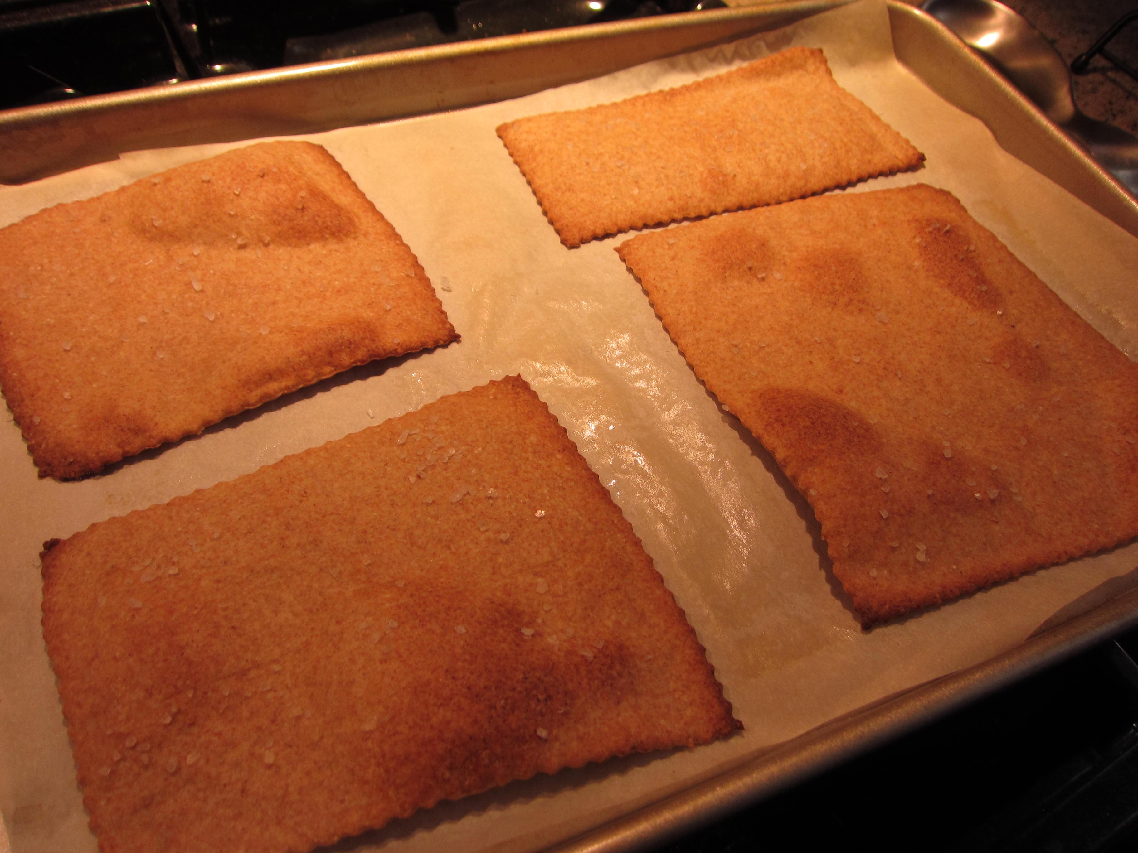Baked on parchment until crisp.