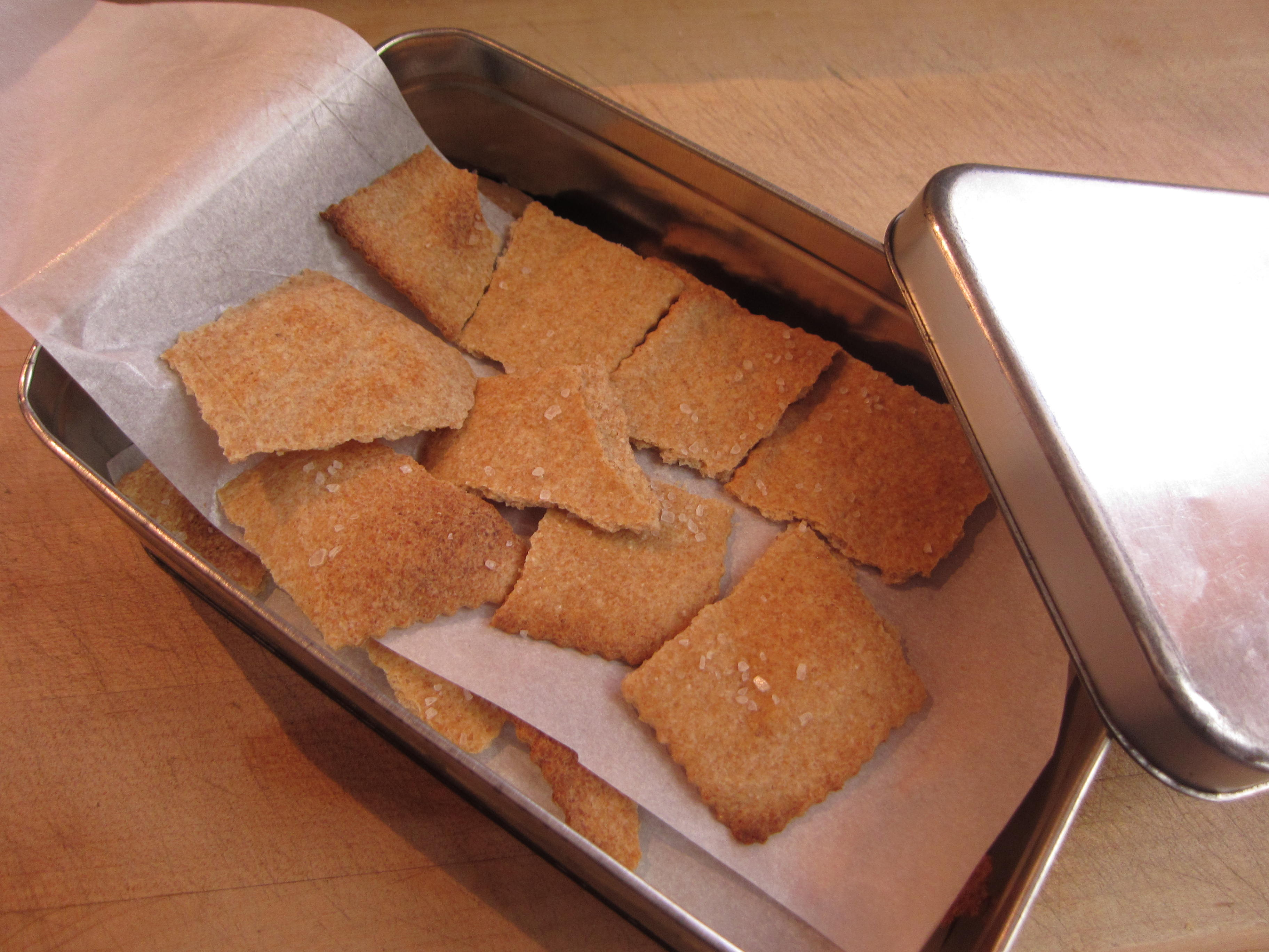Finished crackers store well in cookie tins. Enjoy them with soft or hard cheese.