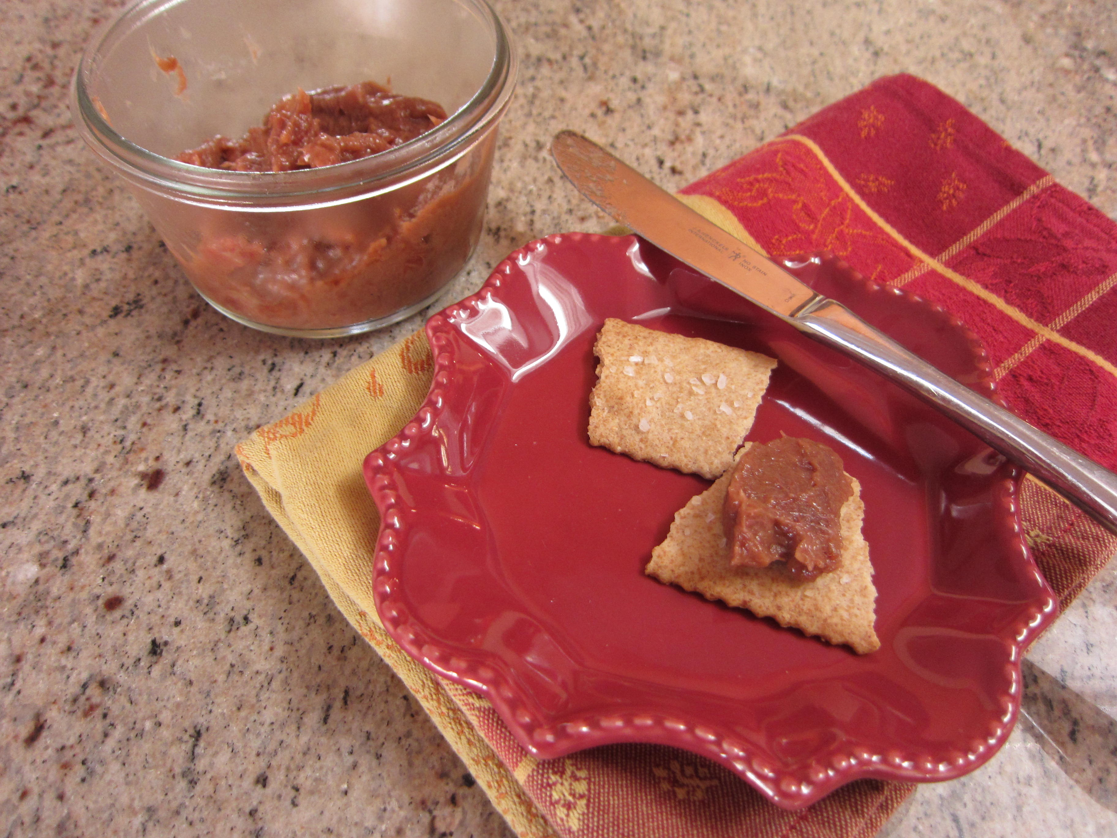 Rhubarb compote on crackers or toast or home made bread or...
