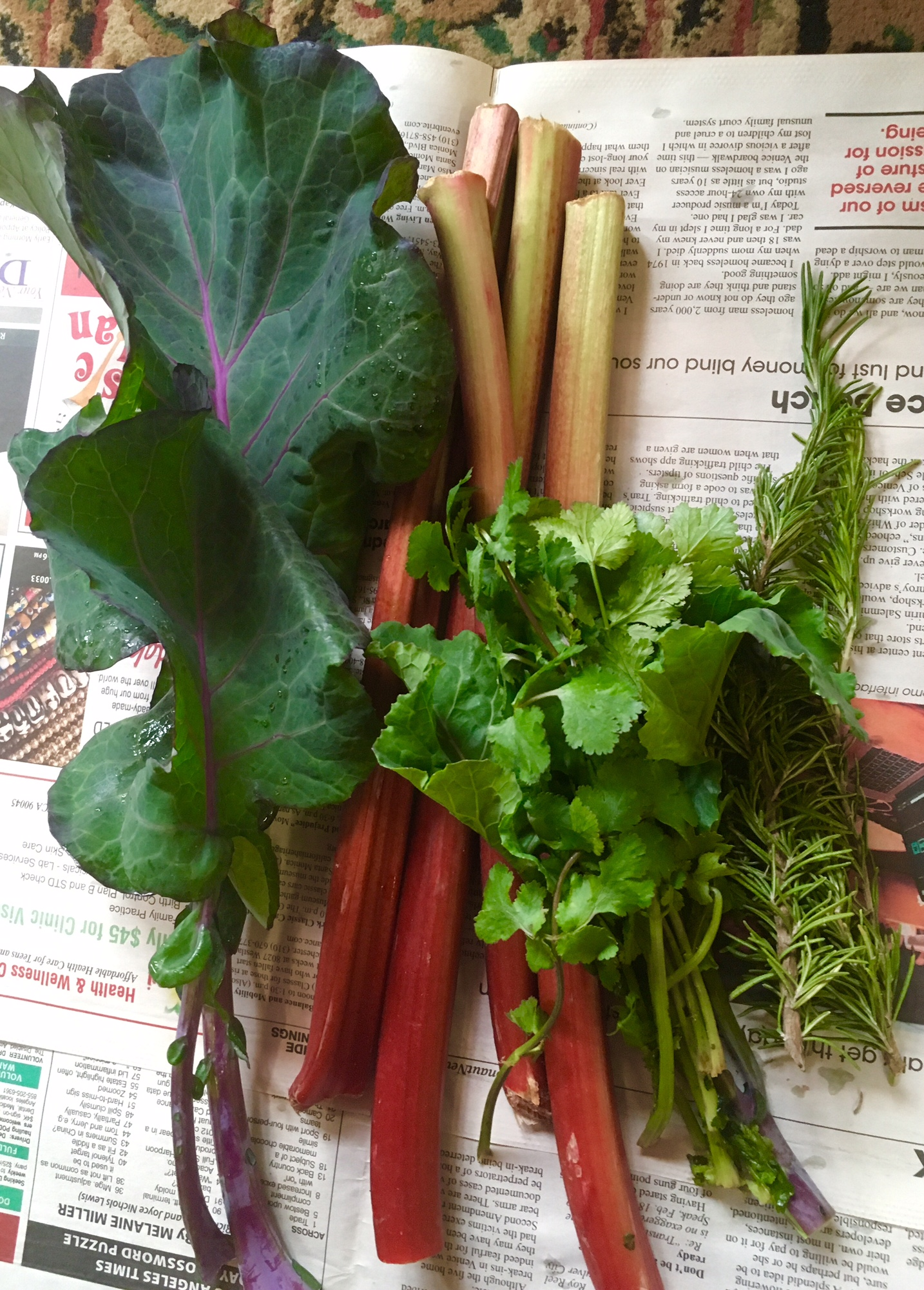 4 stems of rhubarb arrived in our monthly produce exchange. Just enough for rhubarb compote.