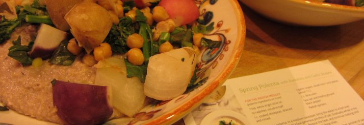 Spring Polenta with Radishes and Garlic Scapes