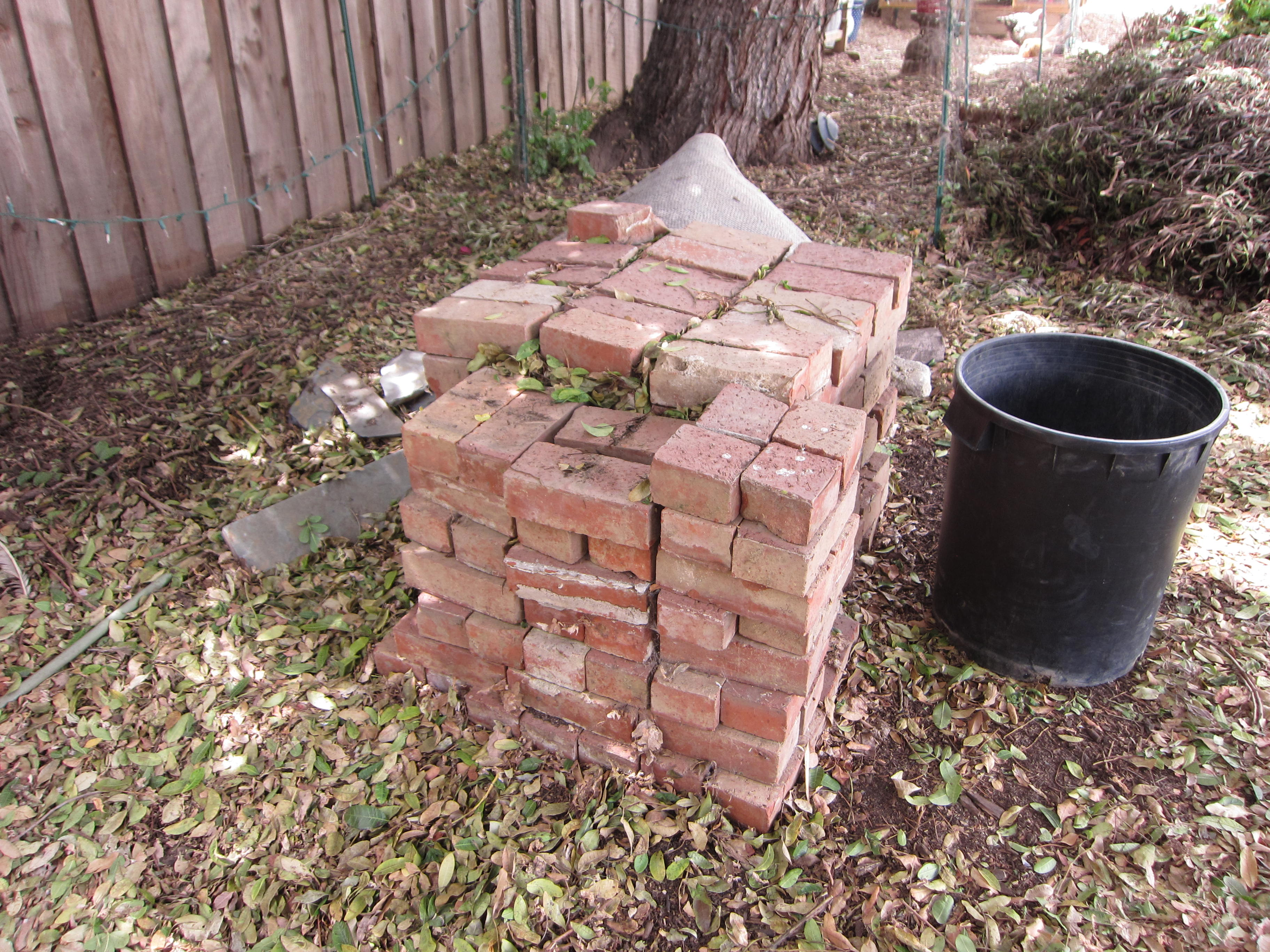 Left over bricks from a project finally being put to good use. You'll use 33 bricks.