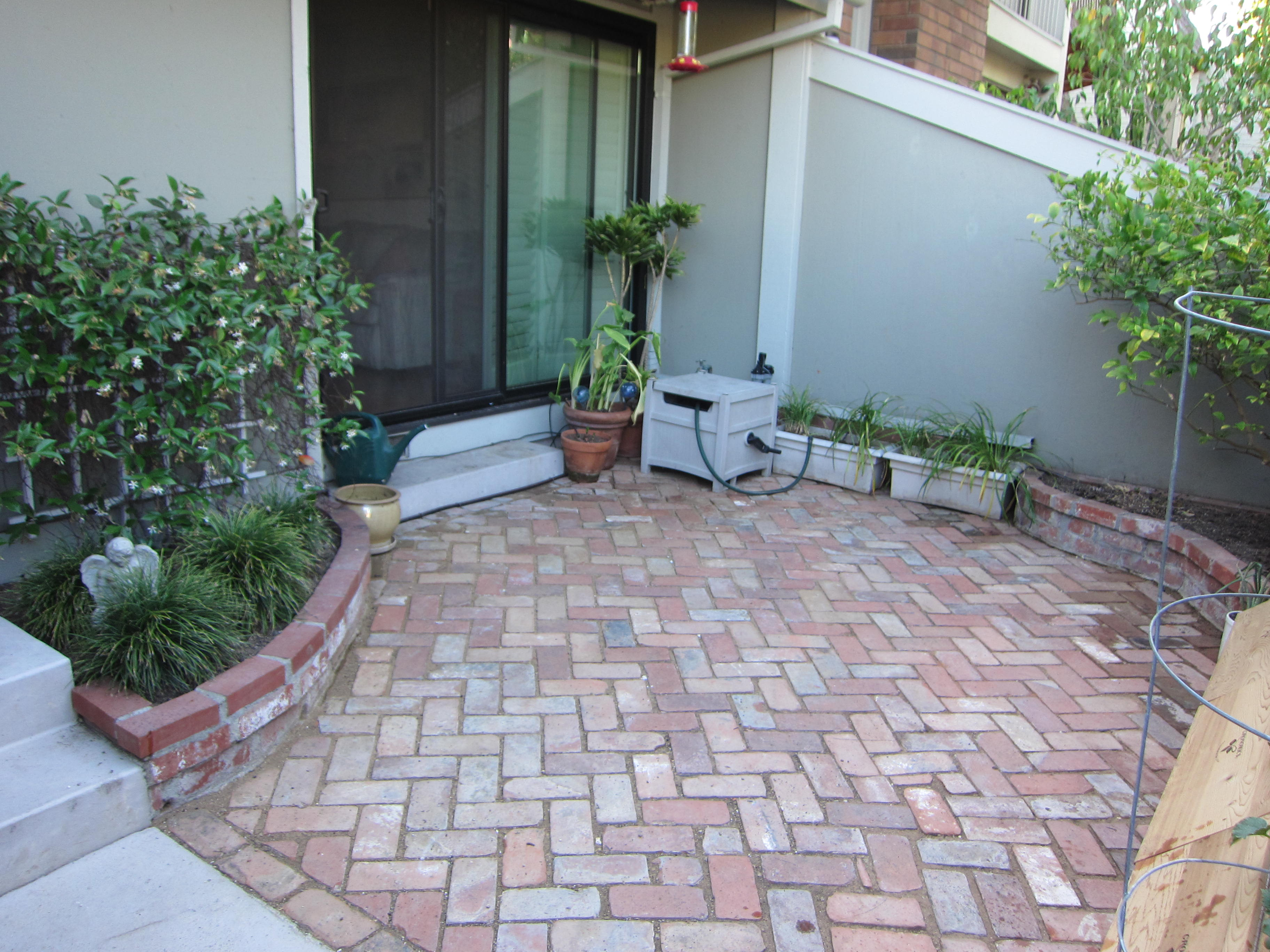 The finished garden presents a welcoming (and level) patio for visitors to enjoy.