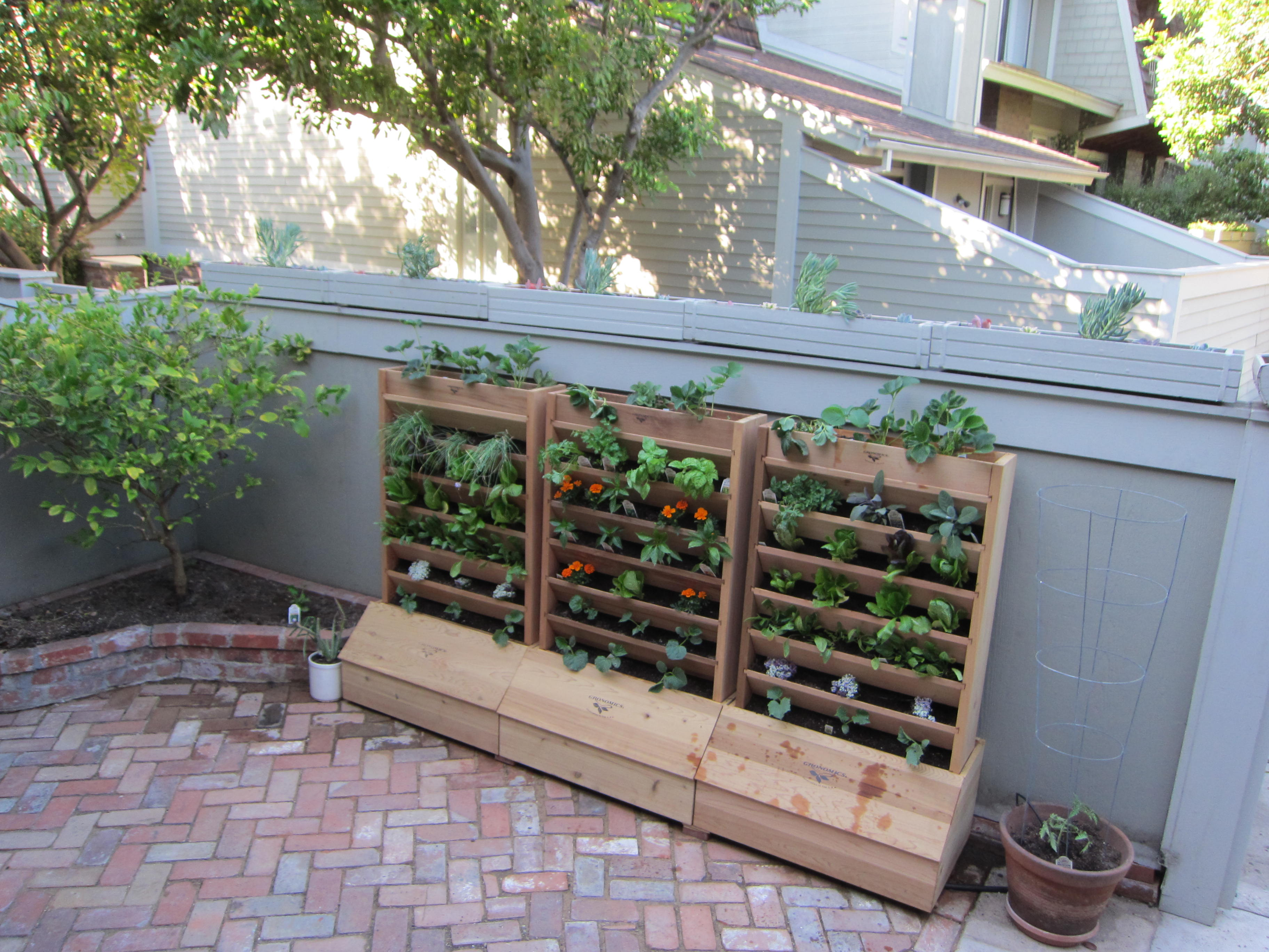 The vertical garden is planted with spring and summer crops.