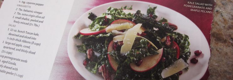 Kale Salad with Pomengranate and Maple Pecans