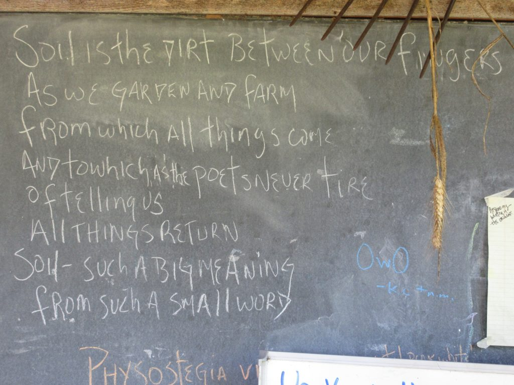 Alan Chadwick Garden blackboard