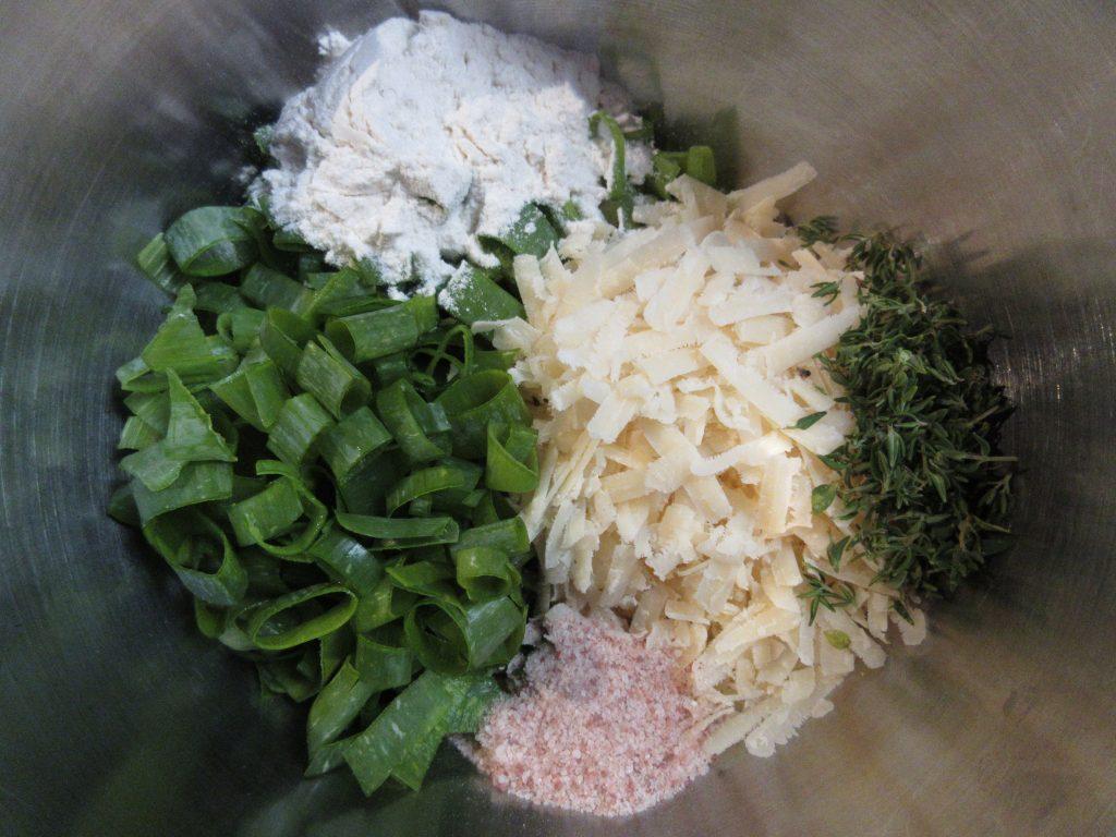 Summer squash torte cheese mix